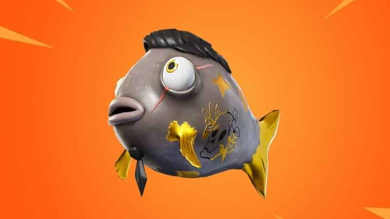 The Fortnite fish, the Midas Flopper; a grey fish with gold fins and a black toupee