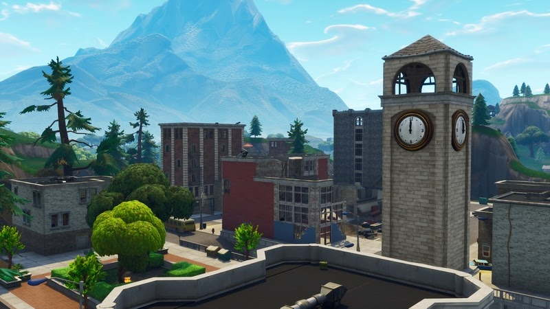 The Tilted Towers area in Fortnite, a clocktower in a nice looking town